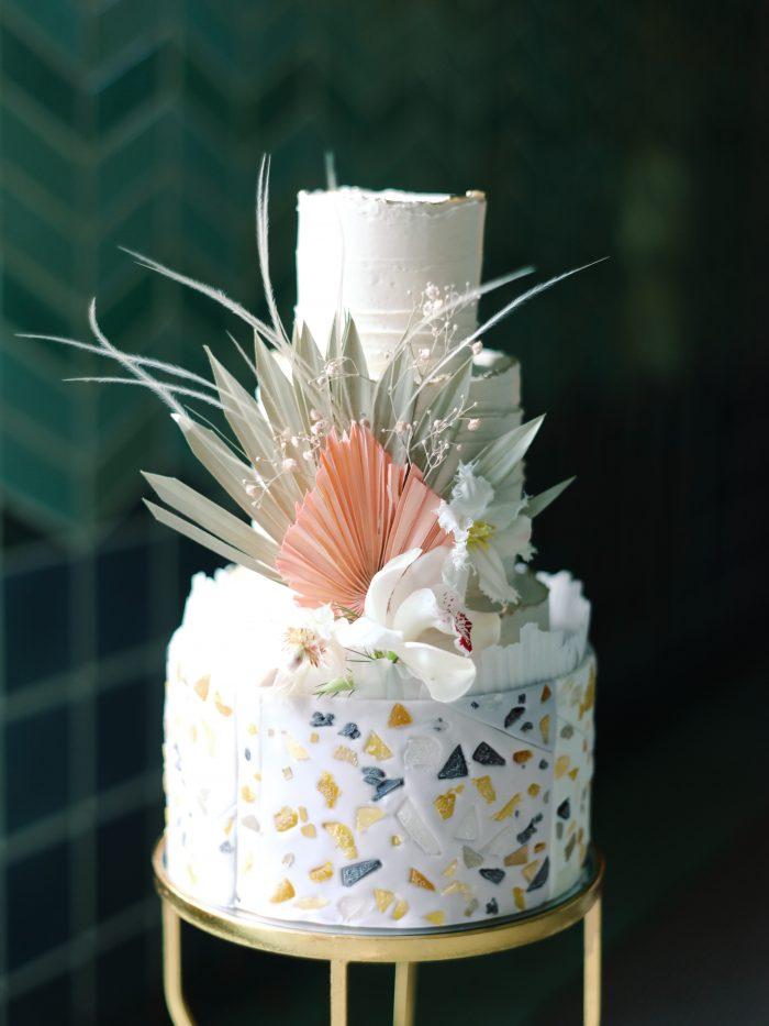 Three Tier Unique Geometric Bohemian Wedding Cake