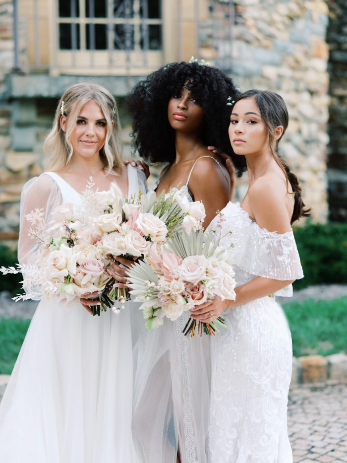 Three Brides Wearing Maggie Sottero Wedding Dresses and Holding Pink and Green Modern Boho Wedding Bouquets