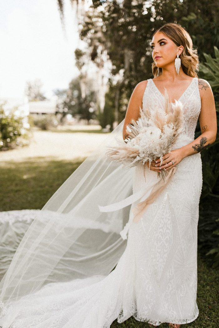 Real Bride Wearing Art Deco Sheath Wedding Dress Called Elaine by Maggie Sottero
