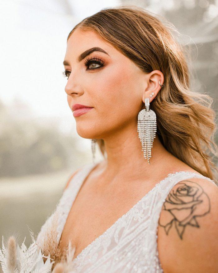 Bride Wearing Smokey Bridal Makeup for Glamorous Wedding