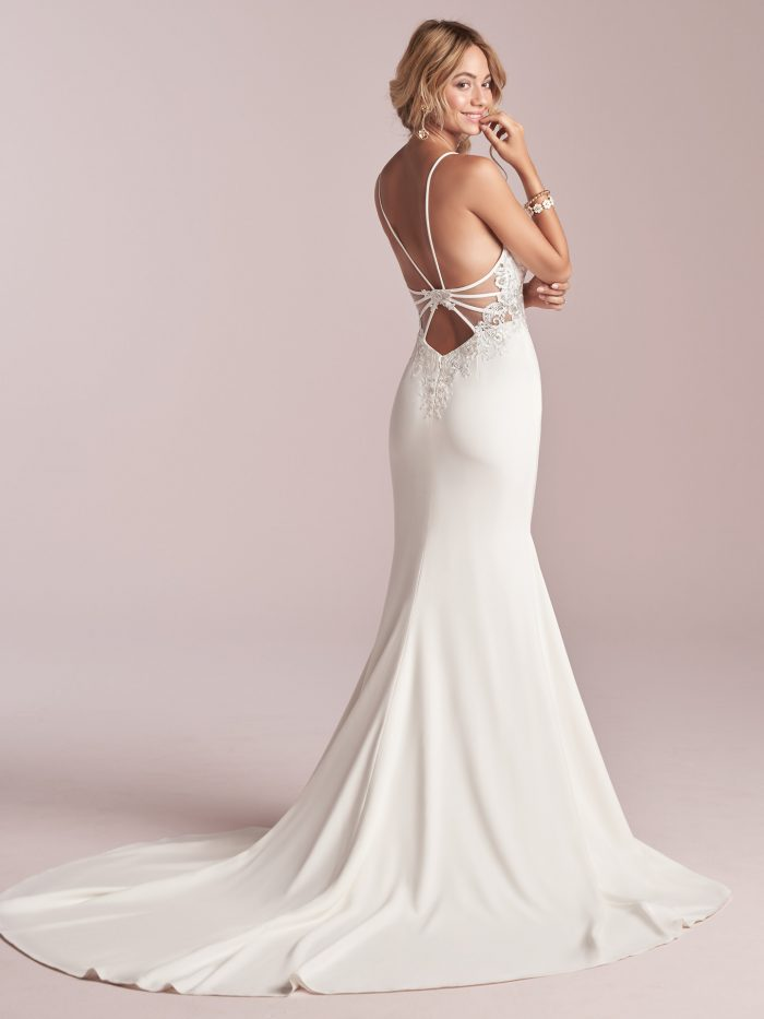 Model Wearing Open Back Wedding Dress Called Cody by Rebecca Ingram