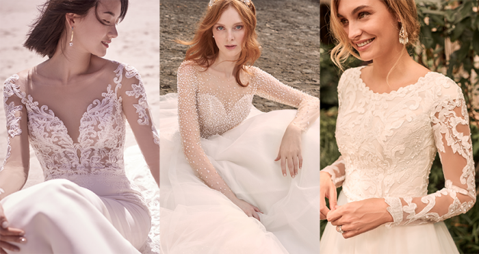 Models Wearing Maggie Sottero Wedding Dresses with Sleeves for a Romantic Celebration