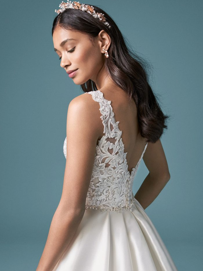 Model Wearing Satin Princess Wedding Gown Called Sonnet by Maggie Sottero