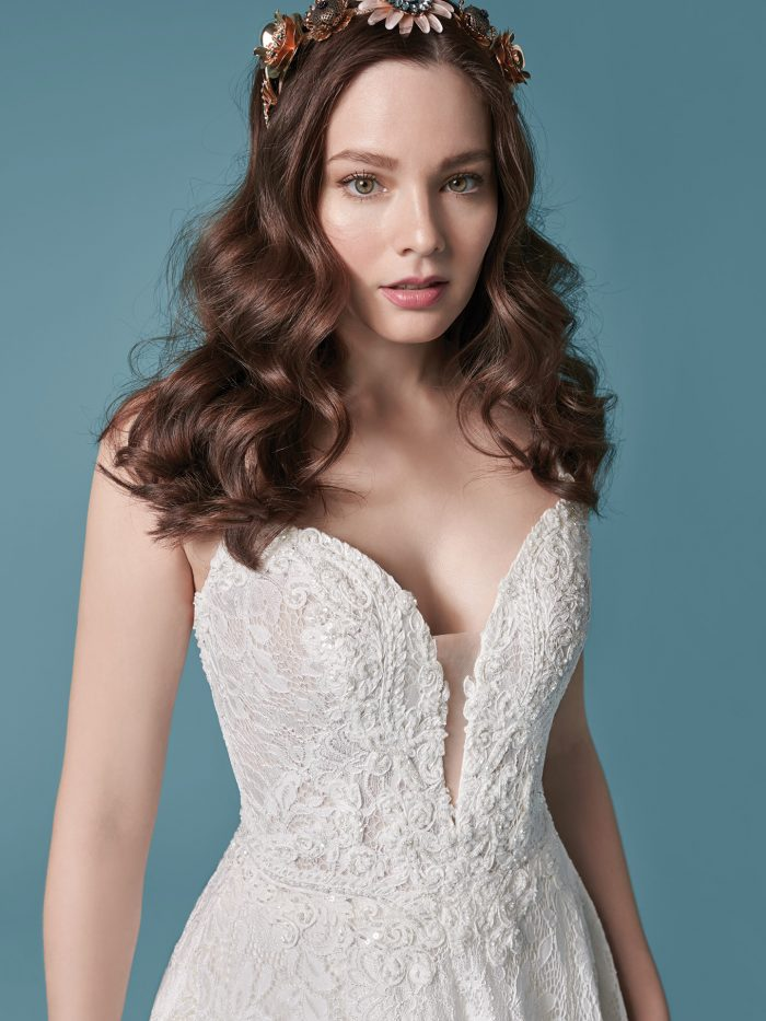 Model Wearing Allover Lace A-line Bridal Dress Called Valentia by Maggie Sottero