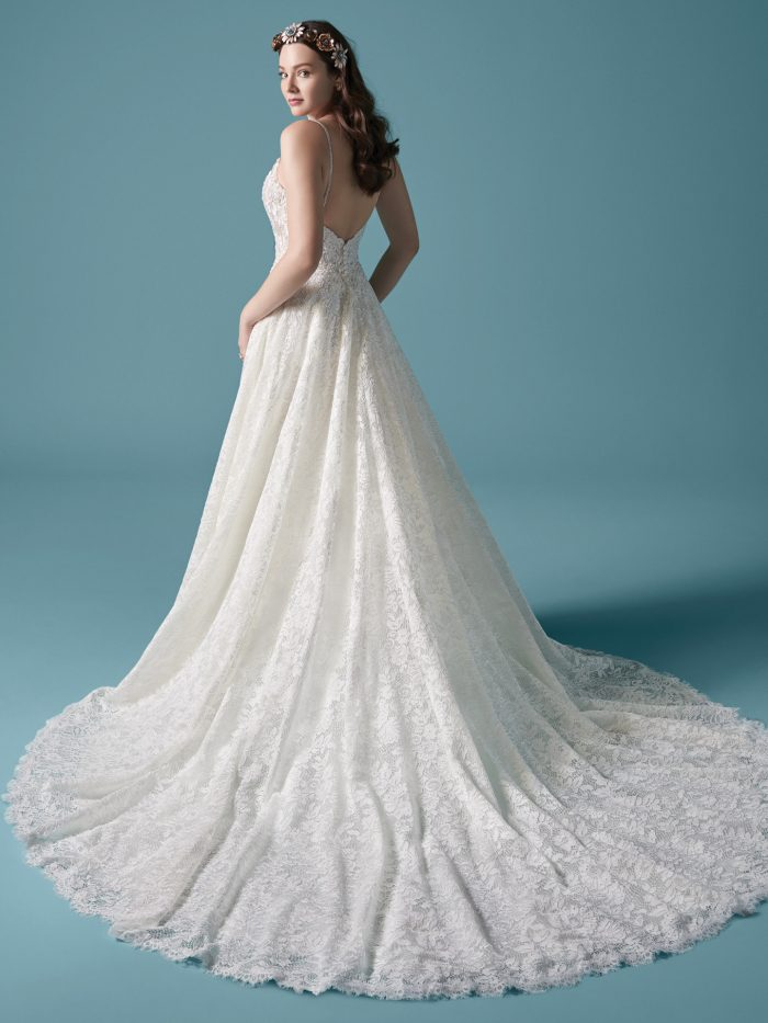 Model Wearing Lace Ball Gown Wedding Dress Called Valentia by Maggie Sottero