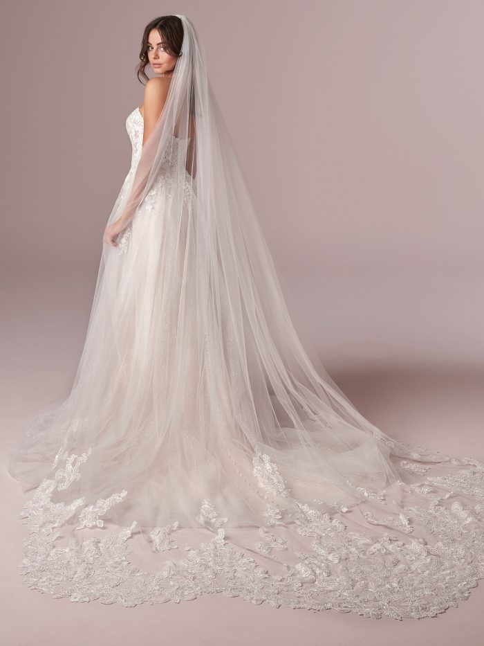 Model Wearing Lightweight Tulle Princess Wedding Gown Called Mavis by Rebecca Ingram