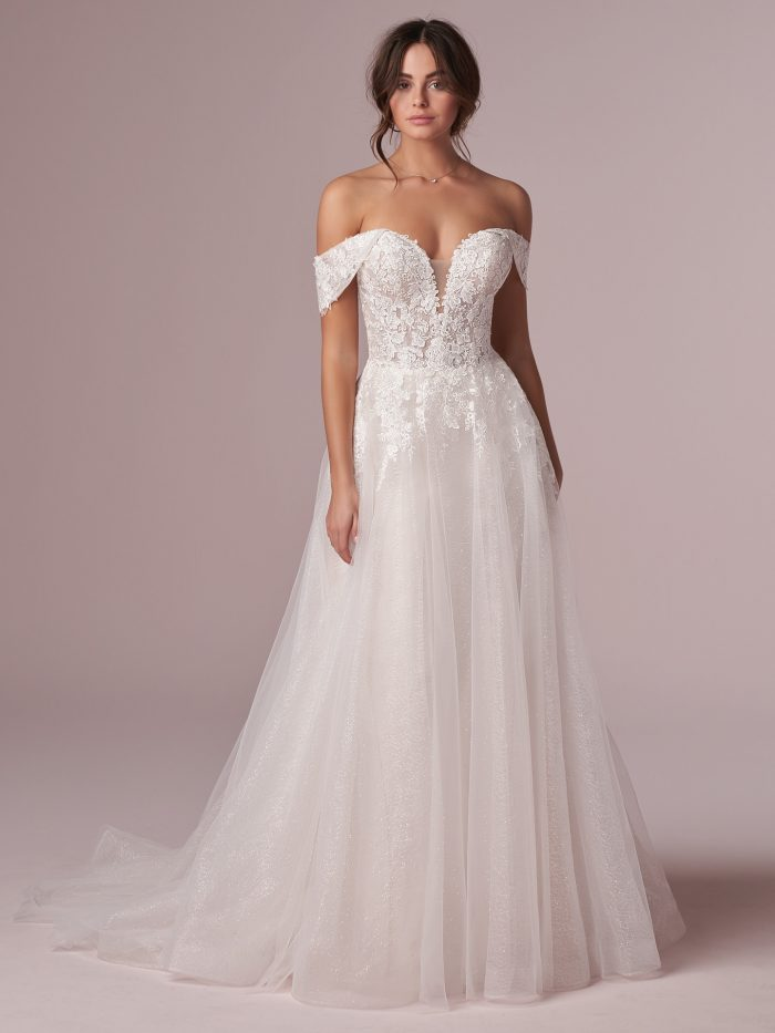 Model Wearing Off-the-Shoulder Tulle Princess Wedding Dress Called Mavis by Rebecca Ingram