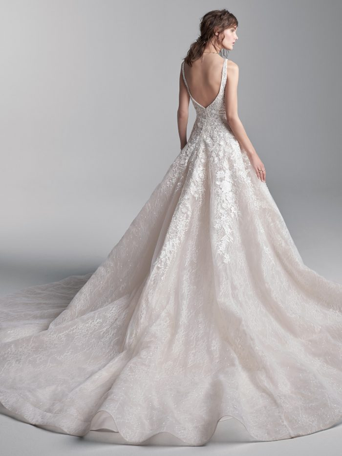 Model Wearing Lightweight Ball Gown Wedding Dress Called Grant by Sottero and Midgley