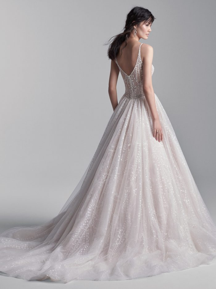 Model Wearing Geometric Sparkle Ball Gown Wedding Dress Called Thatched by Sottero and Midgley