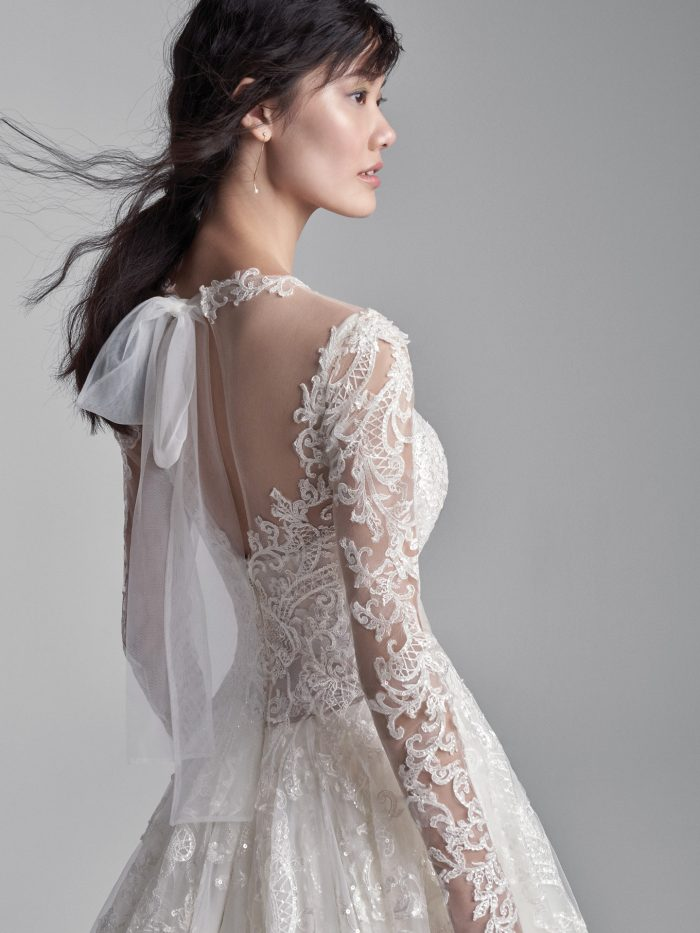 Model Wearing Lightweight A-line Wedding Dress Called Xavier by Sottero and Midgley