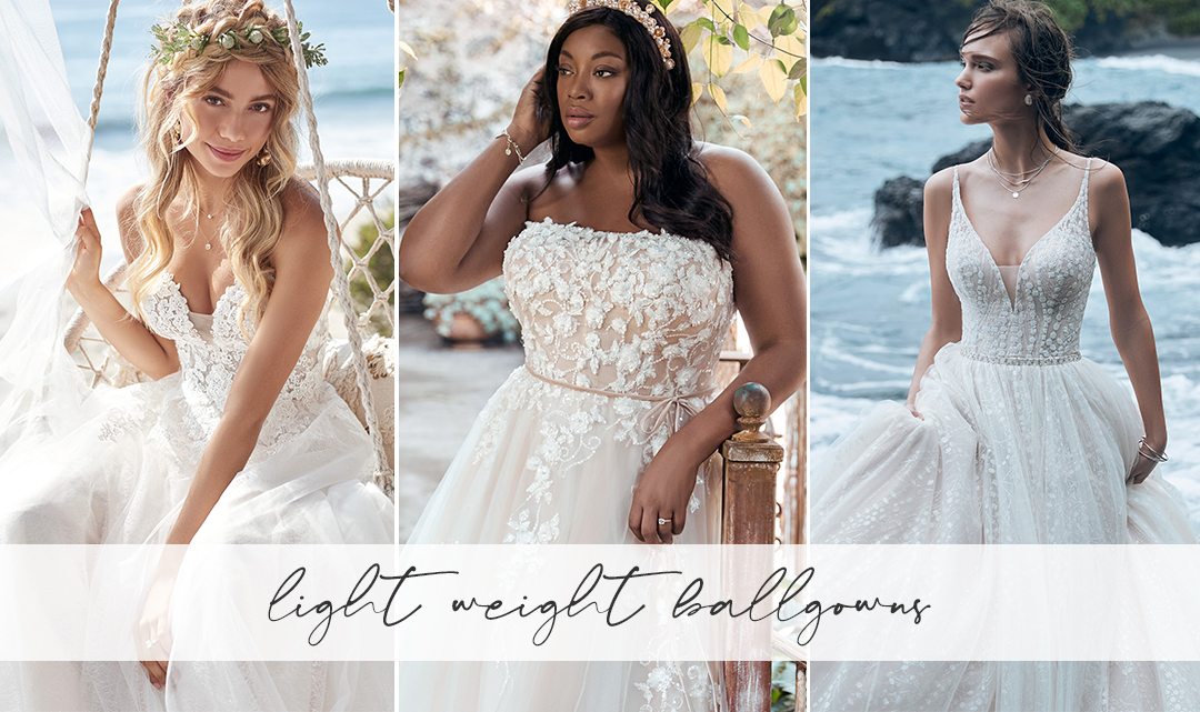 Collage of Brides on the Beach Wearing Lightweight Ball Gown Wedding Dresses by Maggie Sottero