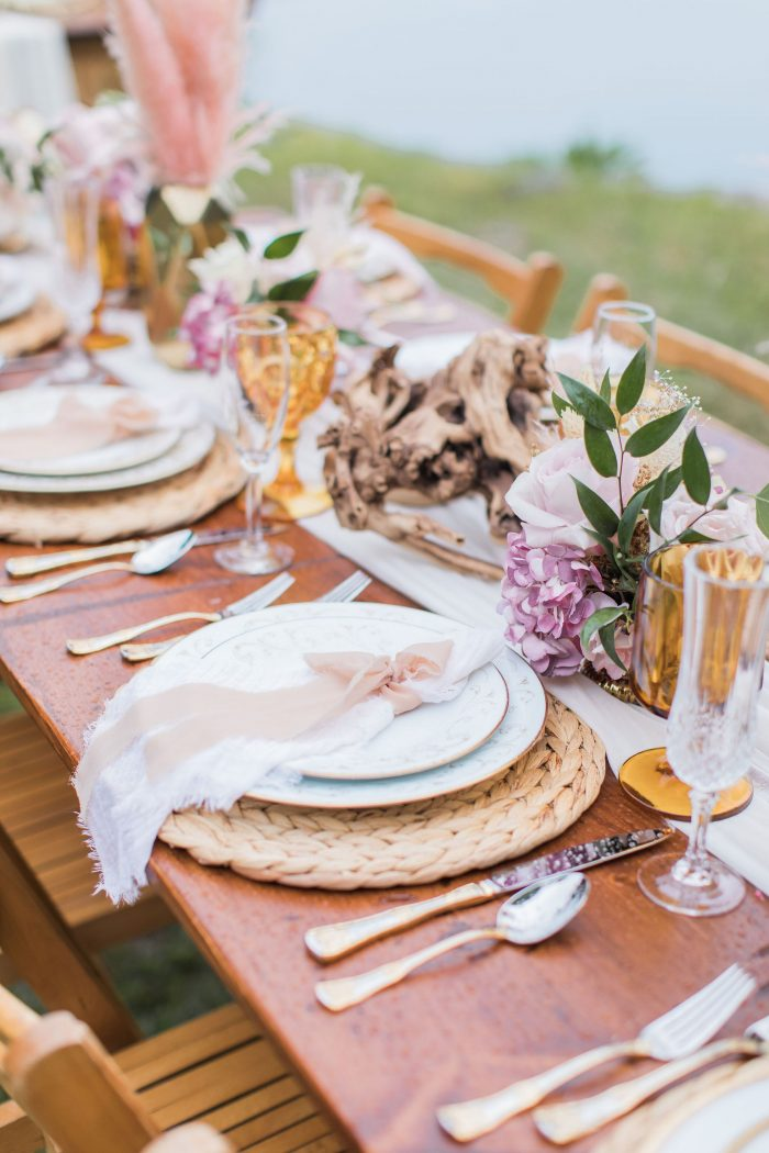Natural Woven Place Mat on Table at Outdoor Wedding Reception