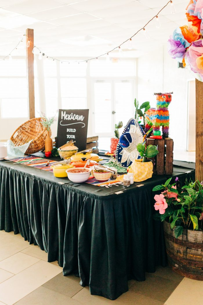 Mexican Food Table at a Real Wedding Reception with Unique Cuisine