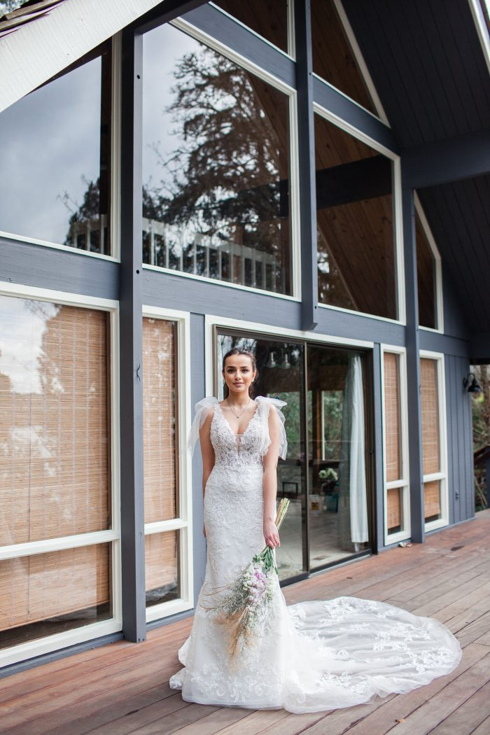 Bride Wearing Beach Wedding Dress with Bows on the Shoulders Called Easton by Sottero and Midgley