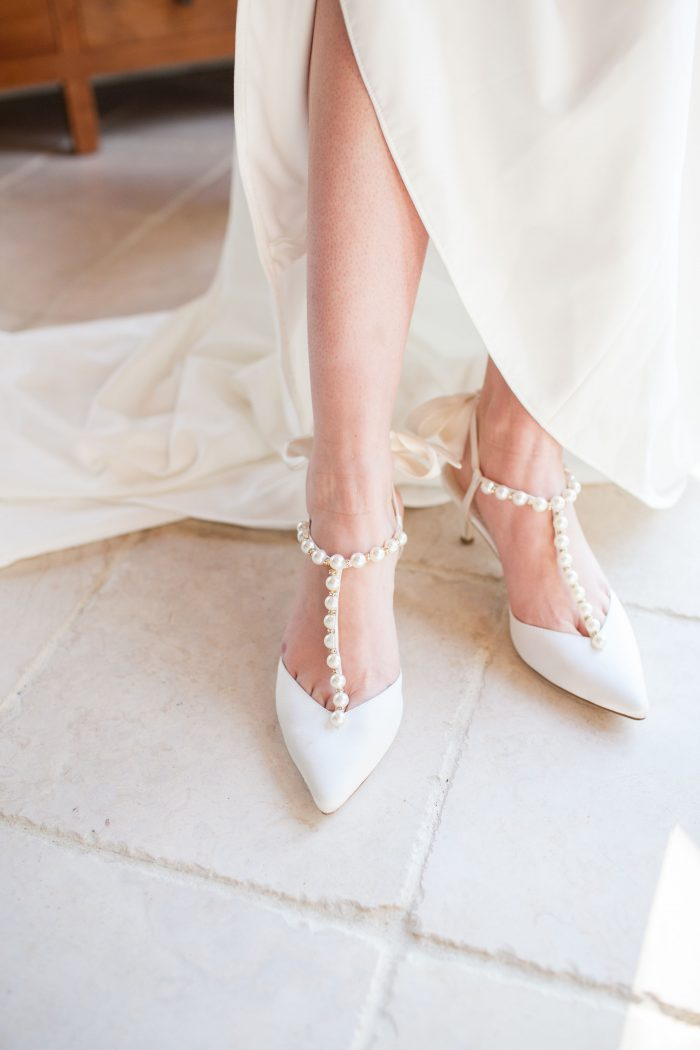 White Closed Toe Wedding Shoes with Pearls