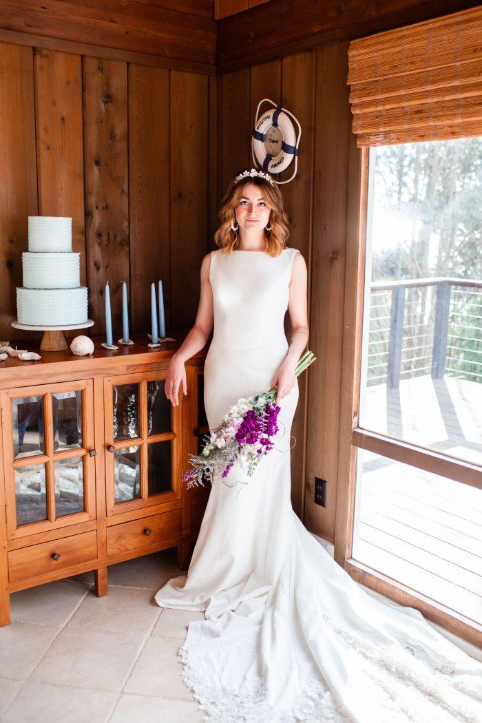 Bride in Beach House Wearing Simple Beach Wedding Dress Called Alice by Rebecca Ingram