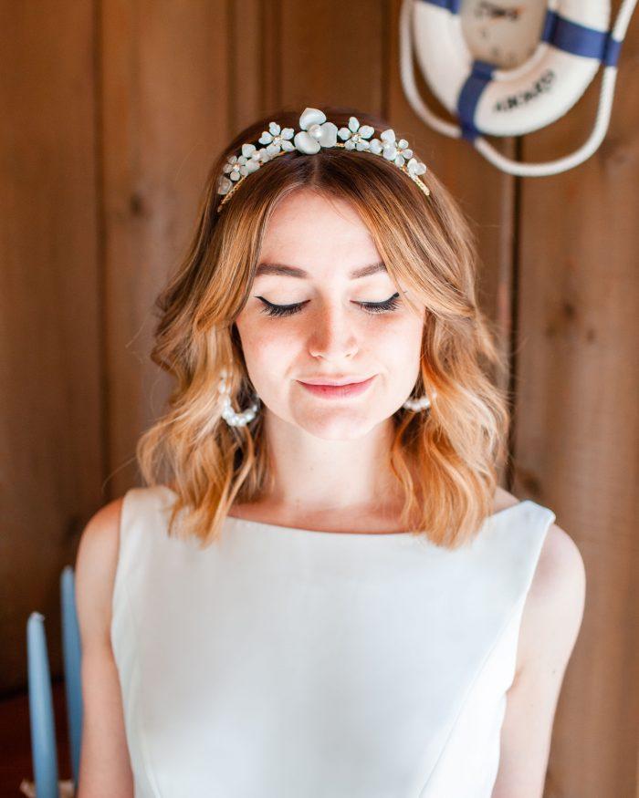 Bride Wearing Tiara with Seashells for Beach Wedding