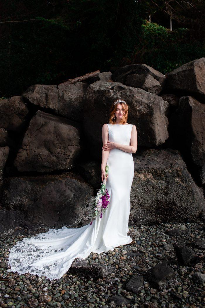 Real Bride Wearing Simple Beach Wedding Dress Called Alice by Rebecca Ingram