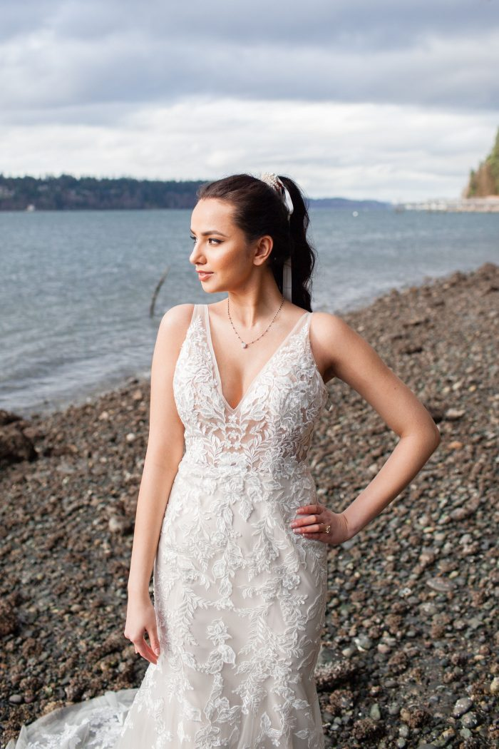 Bride Wearing Beach Wedding Dress by Maggie Sottero and Ponytail for Ribbon for Curly Hair
