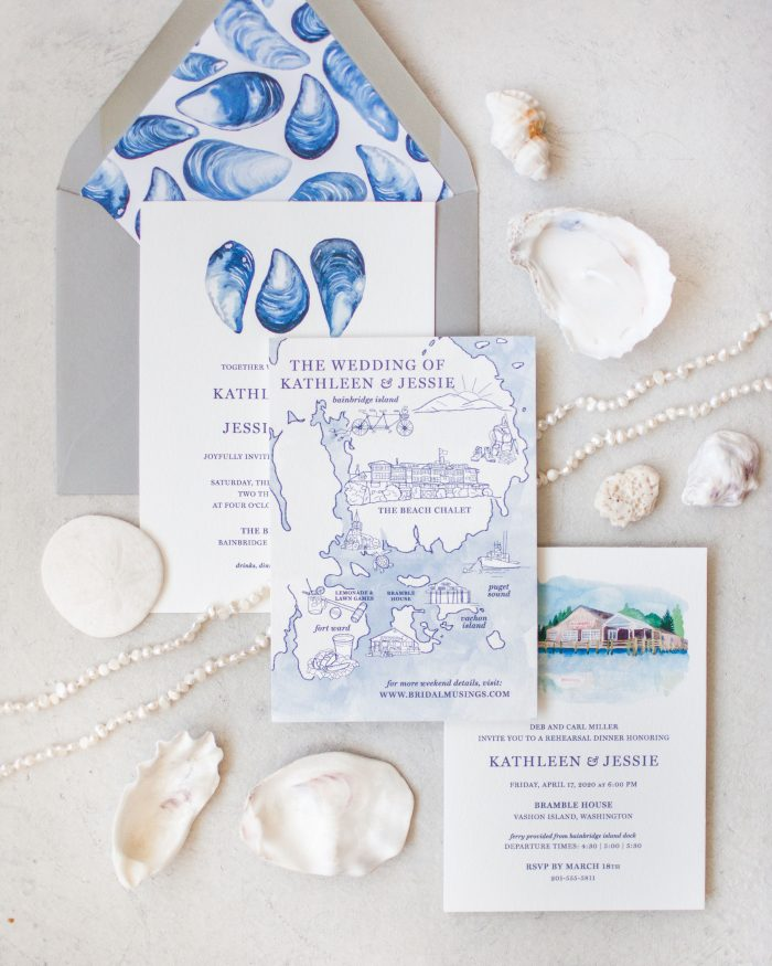 Ocean Blue Beach Summer Wedding Color Palette with Sea Shells and Invitations