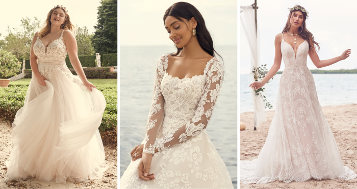 Three Brides Wearing Boho A-line Wedding Dresses by Maggie Sottero