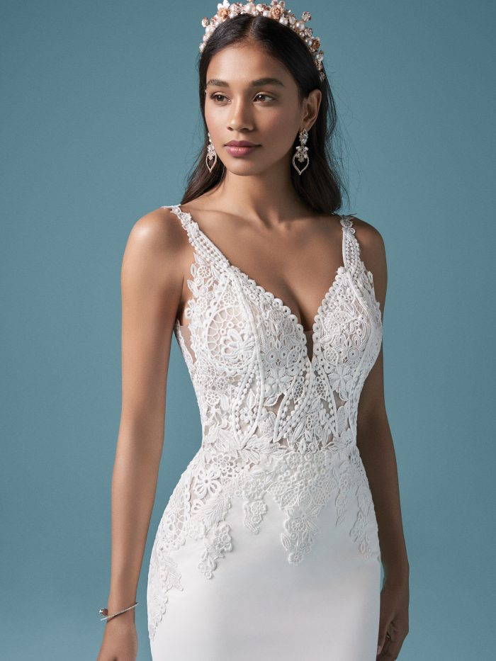 Model Wearing Sexy Crepe Wedding Dress Called Adair by Maggie Sottero