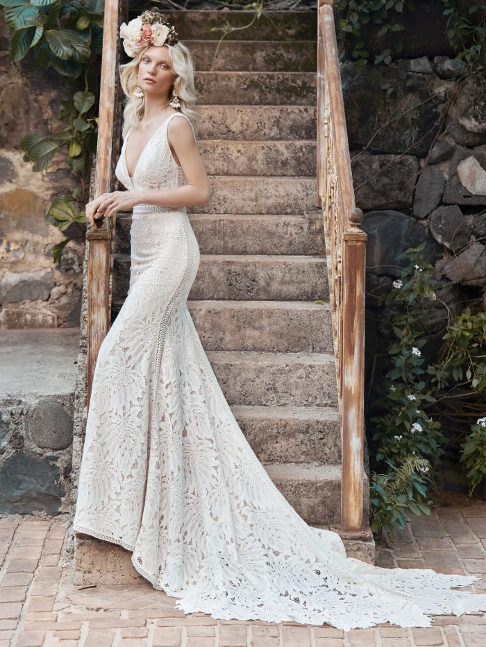 Model Wearing Nature-inspired Lace Sheath Bridal Dress Called Burke Made by Maggie Sottero