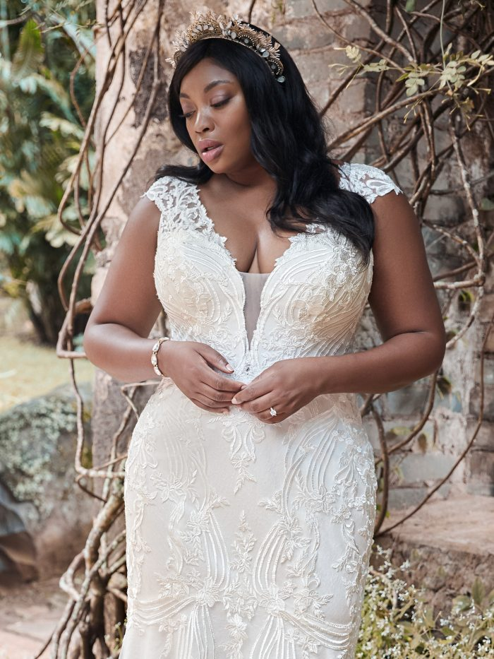 Plus Size Bride Wearing Plus Size Cap-sleeve Boho Wedding Dress Called Keenan Lynette by Maggie Sottero