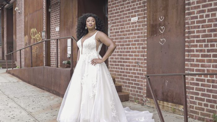 Model in New York Wearing Romantic A-line Wedding Dress Called Leticia Lynette by Maggie Sottero