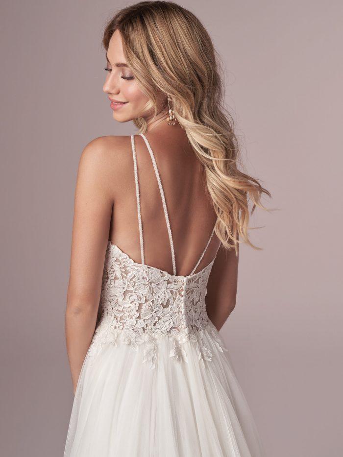 Model Wearing Rustic Wedding Dress Called Lexie Made by Rebecca Ingram