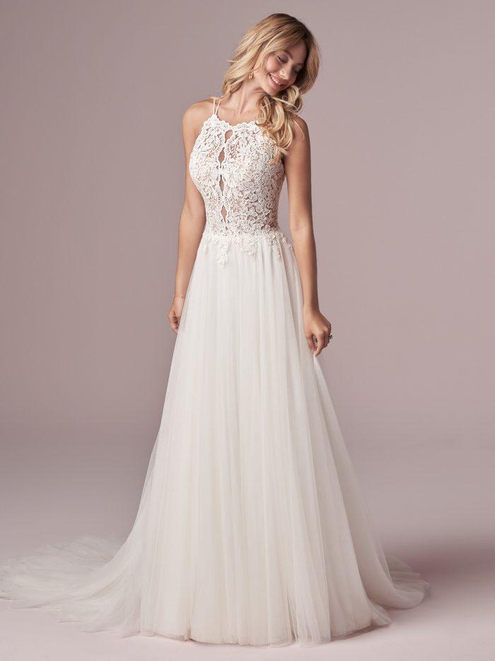 Model Wearing Rustic Bridal Dress Called Lexie Made by Rebecca Ingram