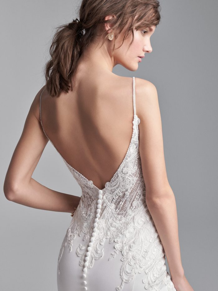 Model Wearing Open Back Wedding Dress Called Bracken Made by Sottero and Midgley