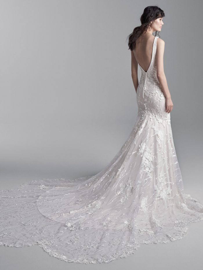 Model Wearing Wedding Dress with 3-D Lace Floral Motifs Called Cruz by Sottero and Midgley