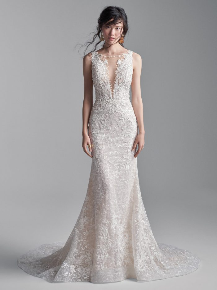 Model Wearing Sparkly Sheath Wedding Dress Called Edmund by Sottero and Midgley