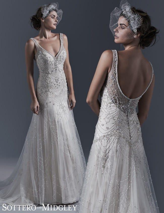 Old Hollywood vintage wedding dress - Gwyneth by Sottero and Midgley