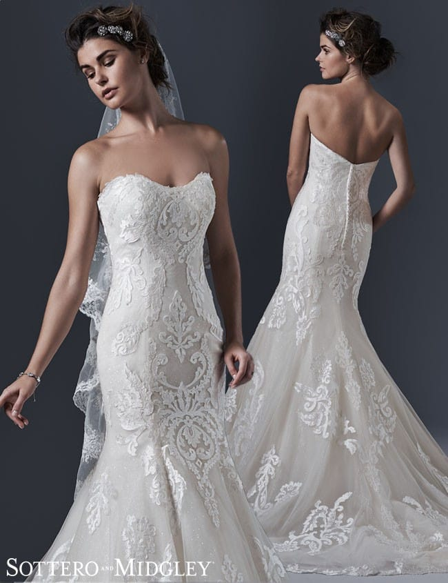Lovai, an intricate lace wedding dress by Sottero and Midgley.