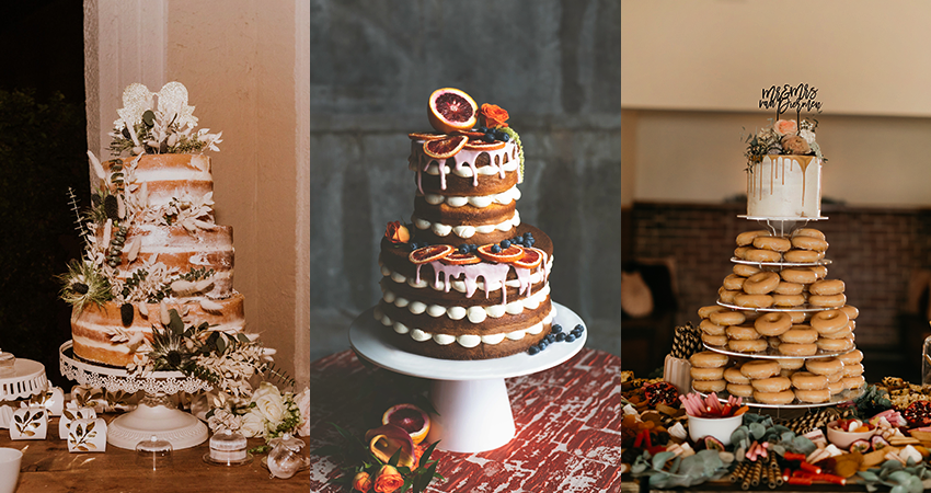 Collage of Three Seasonal Fall Wedding Cakes for an Autumn Celebration