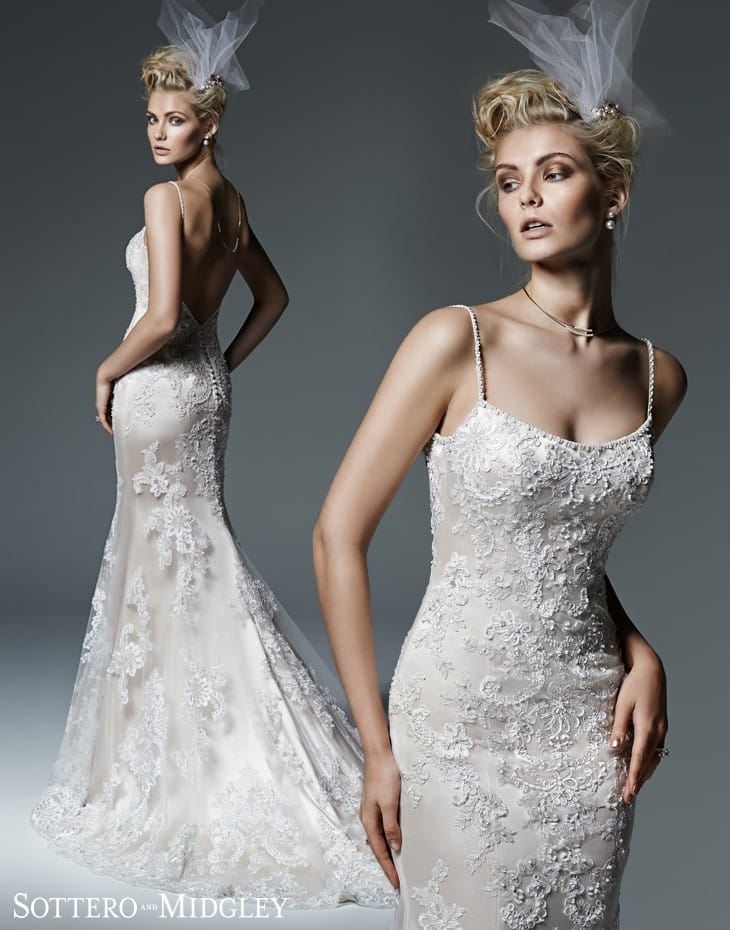 Celine by Sottero and Midgley, a gorgeous spaghetti strap wedding dress.