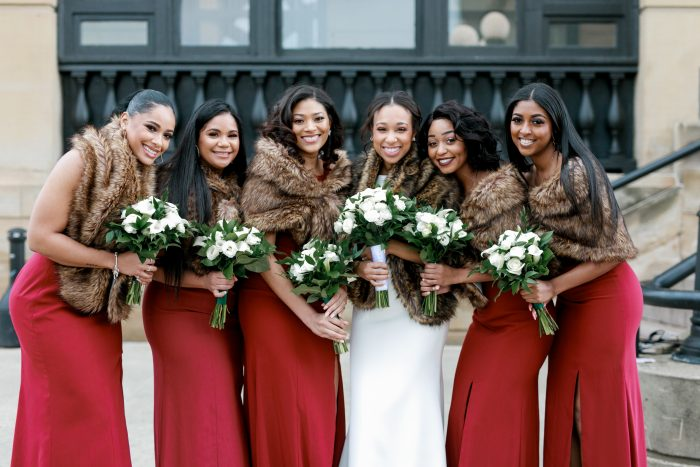 Real Bride with Bridesmaids Wearing Long Maroon Gowns