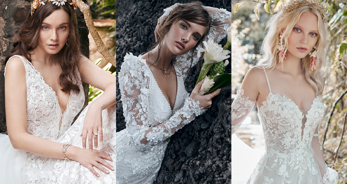 Collage of Models Wearing Floral Wedding Dresses for Your Whimsical Celebration