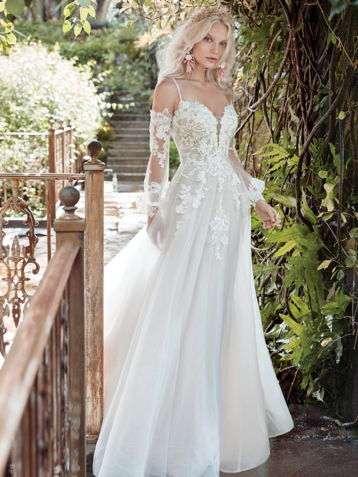 Bride Wearing Floral Wedding Dress by Maggie Sottero for a Garden Soiree Wedding