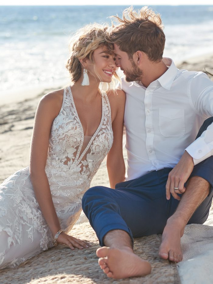 Bride Wearing Sexy Lace Bridal Gown Called Elizabetta by Rebecca Ingram