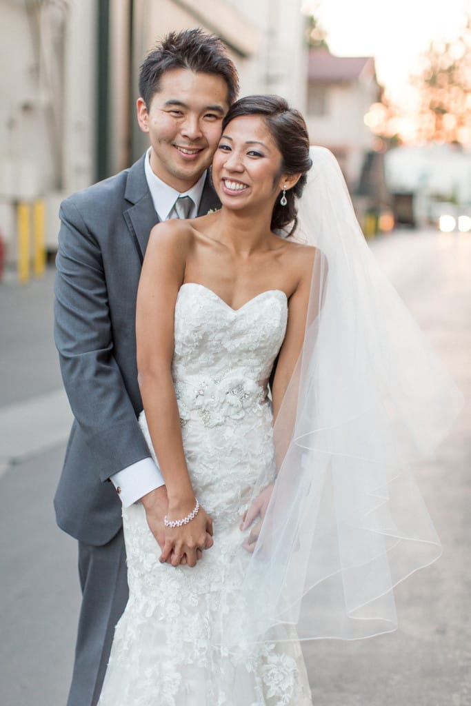 romantic television studio wedding - Ascher wedding dress by Maggie Sottero