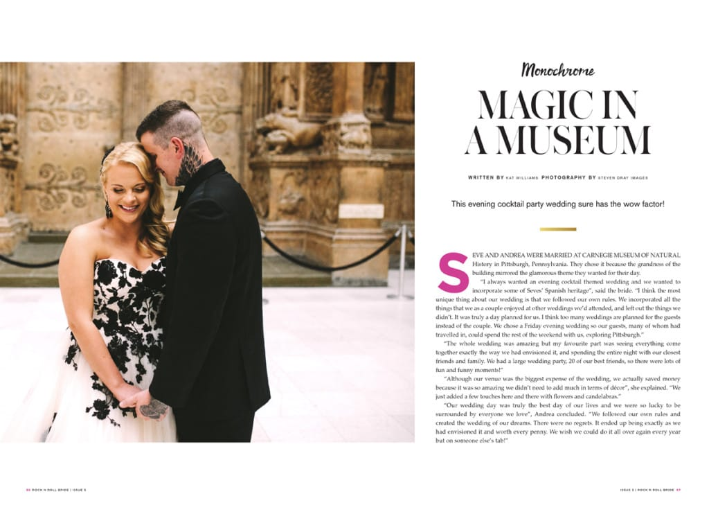 Magical Museum Wedding with a Black and Ivory Wedding Dress