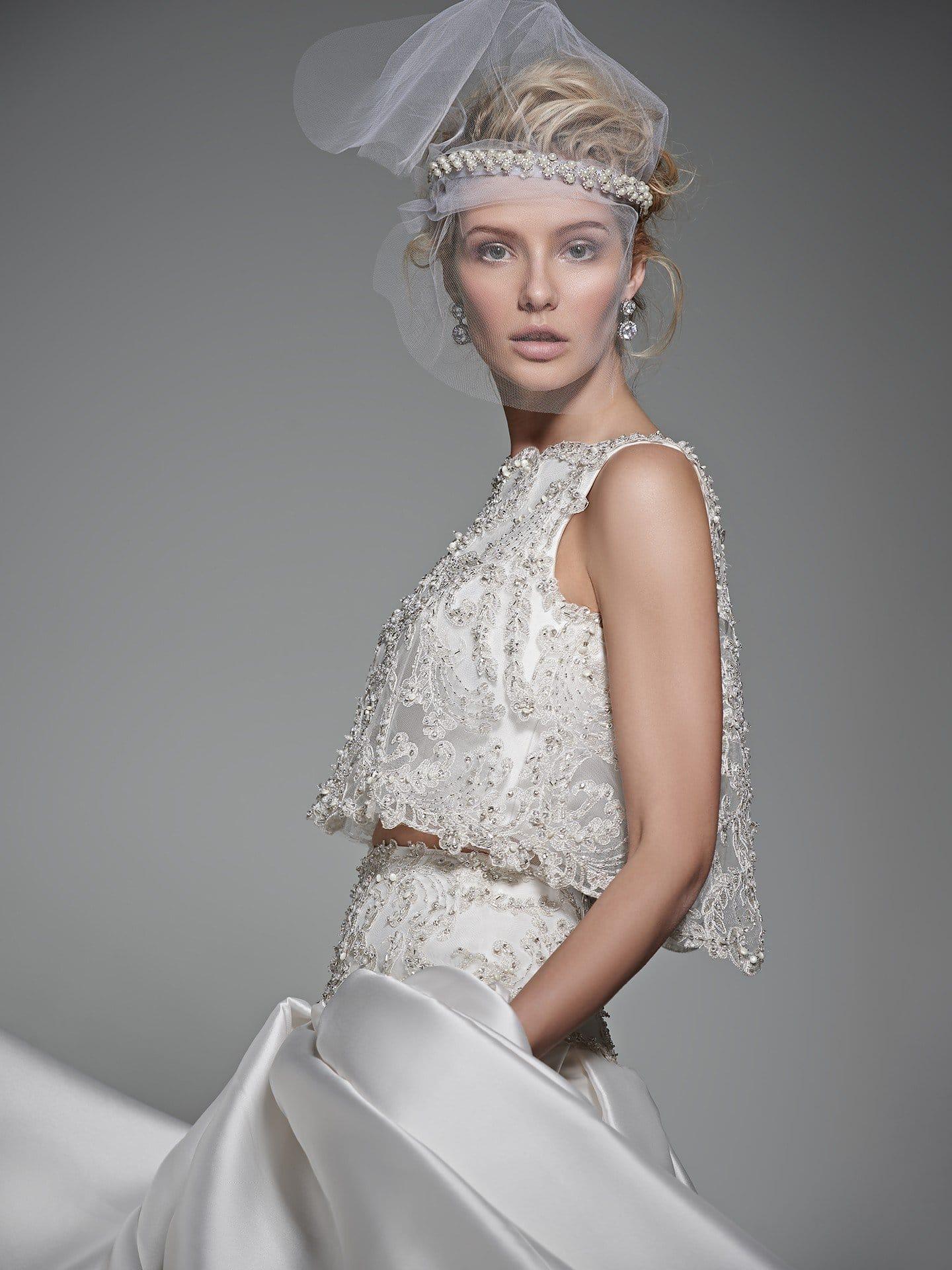 sparkling two-piece ballgown wedding dress