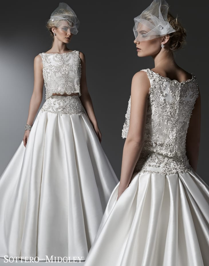 sparkling two-piece ball gown wedding dress Dharma by Sottero and Midgley