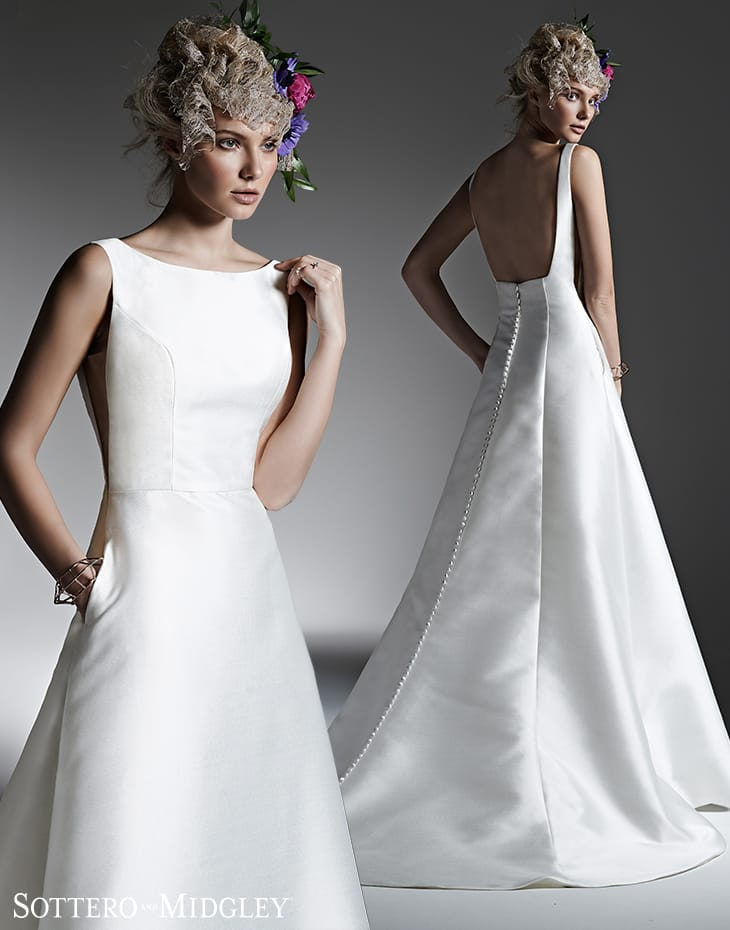 elegant silk a-line wedding dress - McCall by Sottero and Midgley