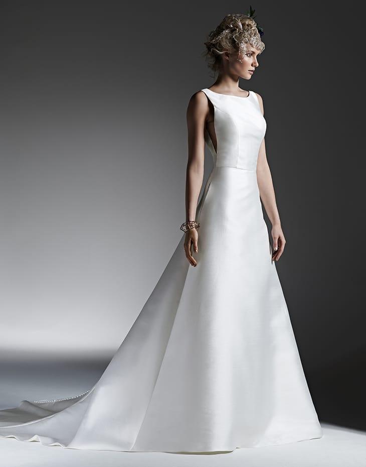 elegant silk a-line wedding dress