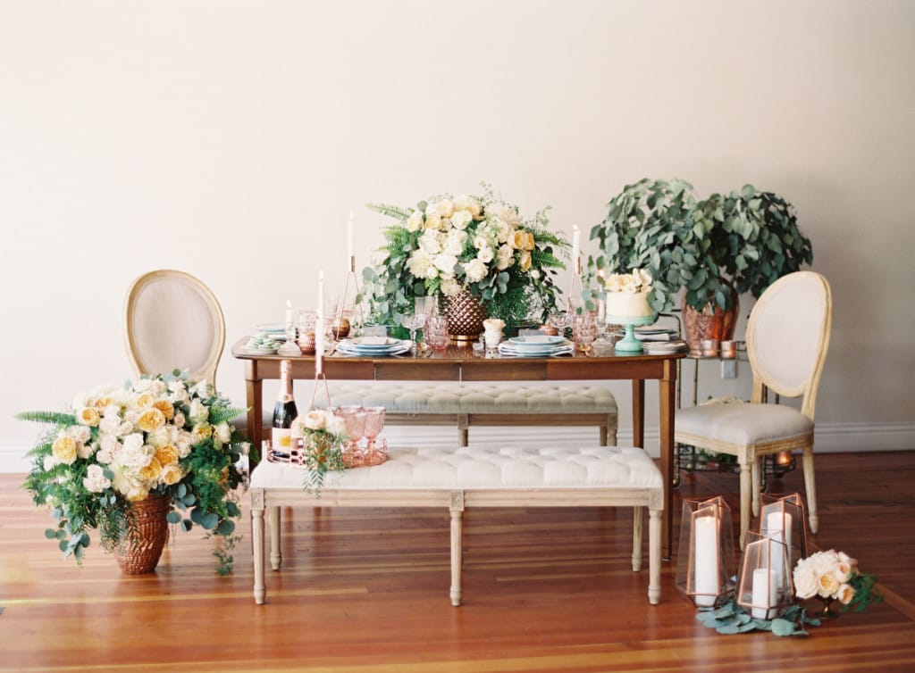 rose gold wedding tablescape