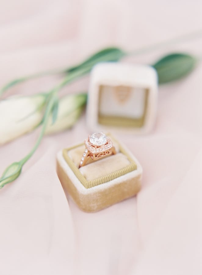 rose gold wedding day jewelry
